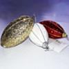 3 Boules De Noël Ovales  (1 rouge+1 dorée plus 1 blanche)
