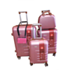 Set De 3 Valises Trolley Rigide Lotus Rose + Vanity